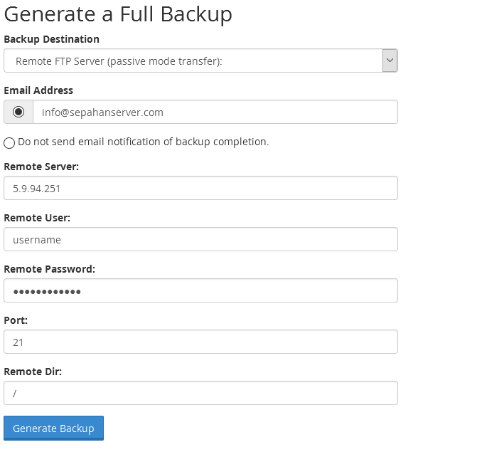 Backup Transfer via Remote FTP in cPanel2
